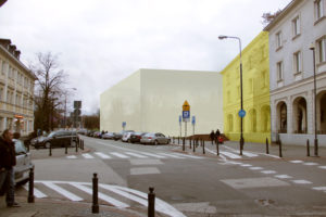 Widok biblioteki znarożnika ulic Bednarskiej iFurmańskiej. Widoczna jest jej fasada odstrony dawnej Mularskiej orazrozbudowany dom przy Bednarskiej 13. Tutaj rozbudowa jest przedstawiona jako przedłużenie elewacji, alemoże ona przyjąć inna formę. Powinna jednak zachować gabaryty budynku, nachylenie jego dachu orazpowinna się wniej znaleźć kontynuacja podcienia.