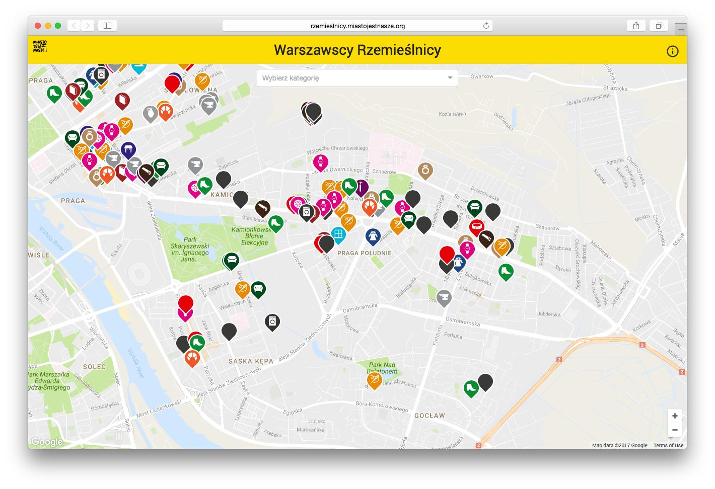 Mapa Rzemieślników - Praga Południe