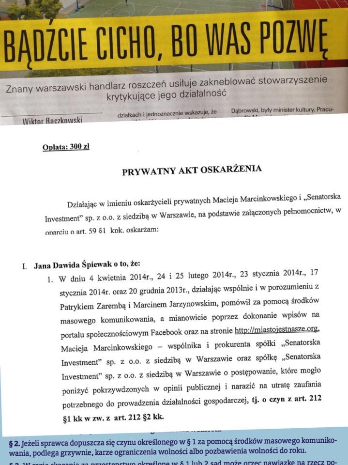 Prywatny akt oskarżenia dla członków zarządu Miasto Jest Nasze!