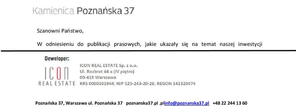 Odpowiedź naoficjalne stanowisko Icon Real Estate