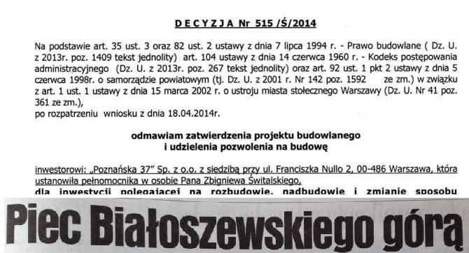Biuro Architektury odmówiło wydania pozwolenia naprzebudowę kamienicy Mirona Białoszewskiego!