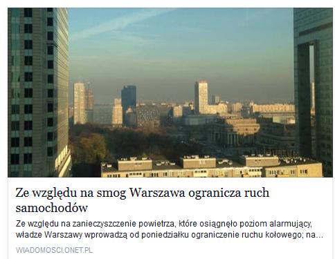 Zewzględu nasmog Warszawa ogranicza ruch samochodów