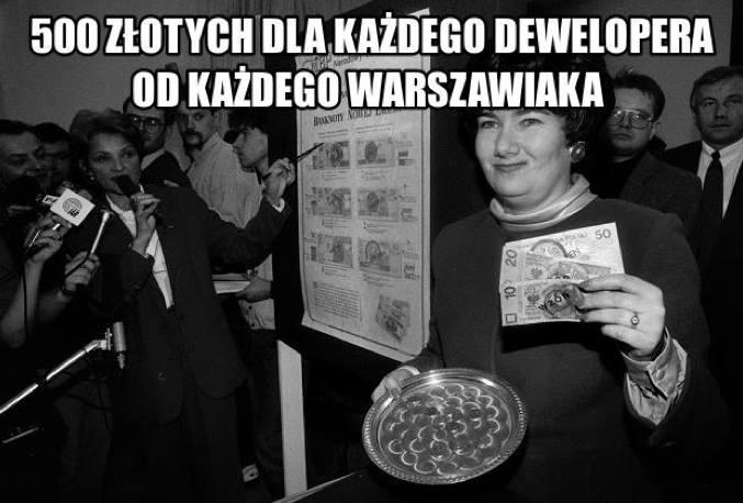 500 złotych nadewelopera odkażdego warszawiaka // Most Krasińskiego
