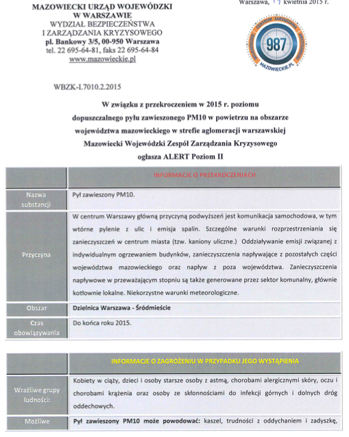 Wydział Bezpieczeństwa iZarządzania Kryzysowego Urzędu Wojewódzkiego ogłosił alert II stopnia wŚródmieściu Warszawy obowiązujący dokońca 2015 roku