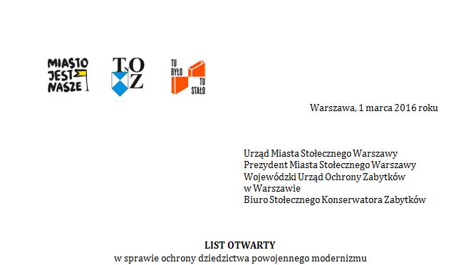 List otwarty wsprawie ochrony dziedzictwa powojennego modernizmu