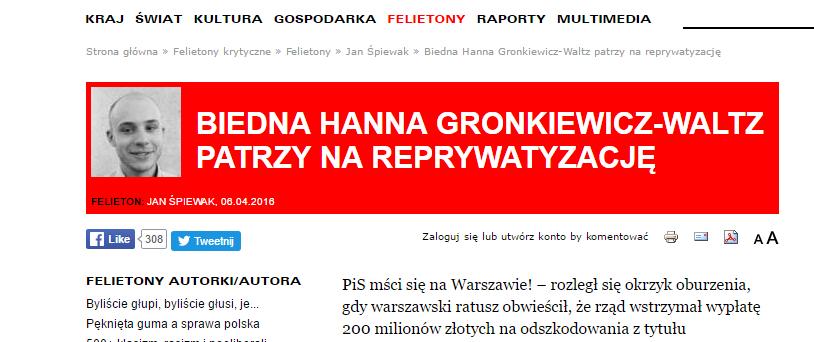 Jan Śpiewak: Biedna Hanna Gronkiewicz-Waltz patrzy nareprywatyzację