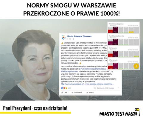 Postulaty MJN dowładz Warszawy wsprawie smogu