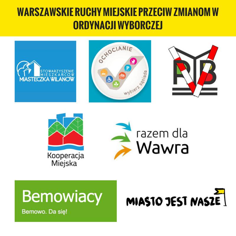 Warszawskie ruchy miejskie przeciw zmianom wordynacji