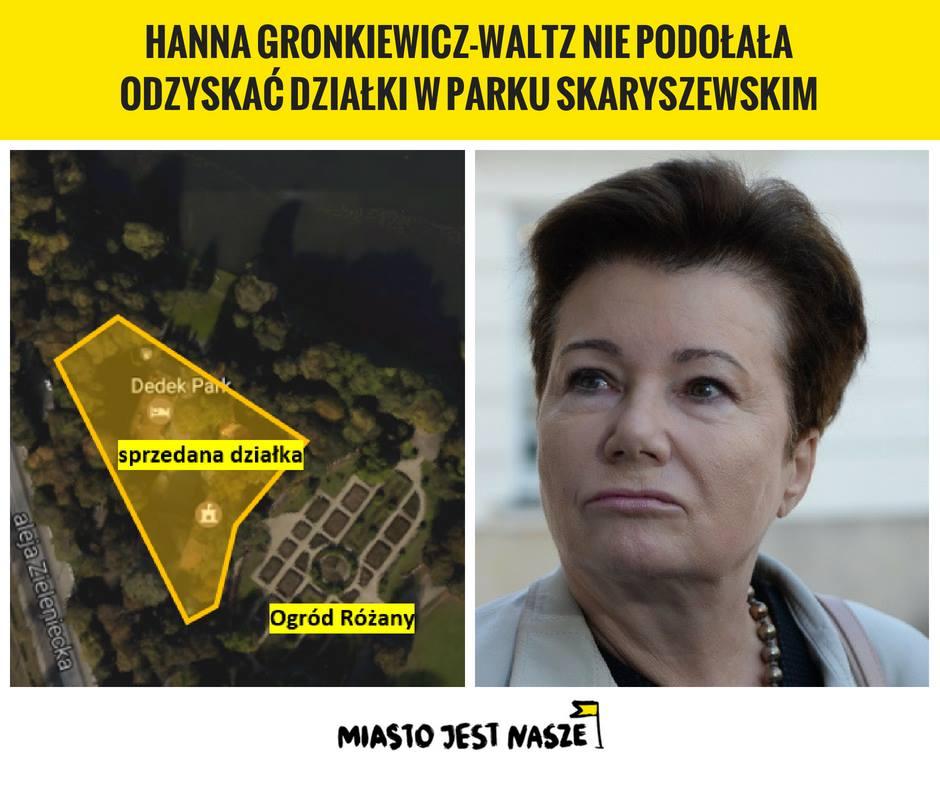 Hanna Gronkiewicz-Waltz niepodołała odzyskać działki wParku Skaryszewskim