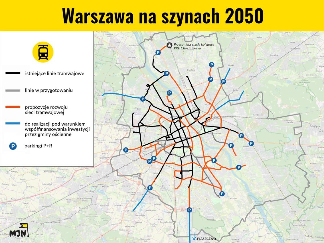 Sieć tramwajowa wWarszawie do2050 roku