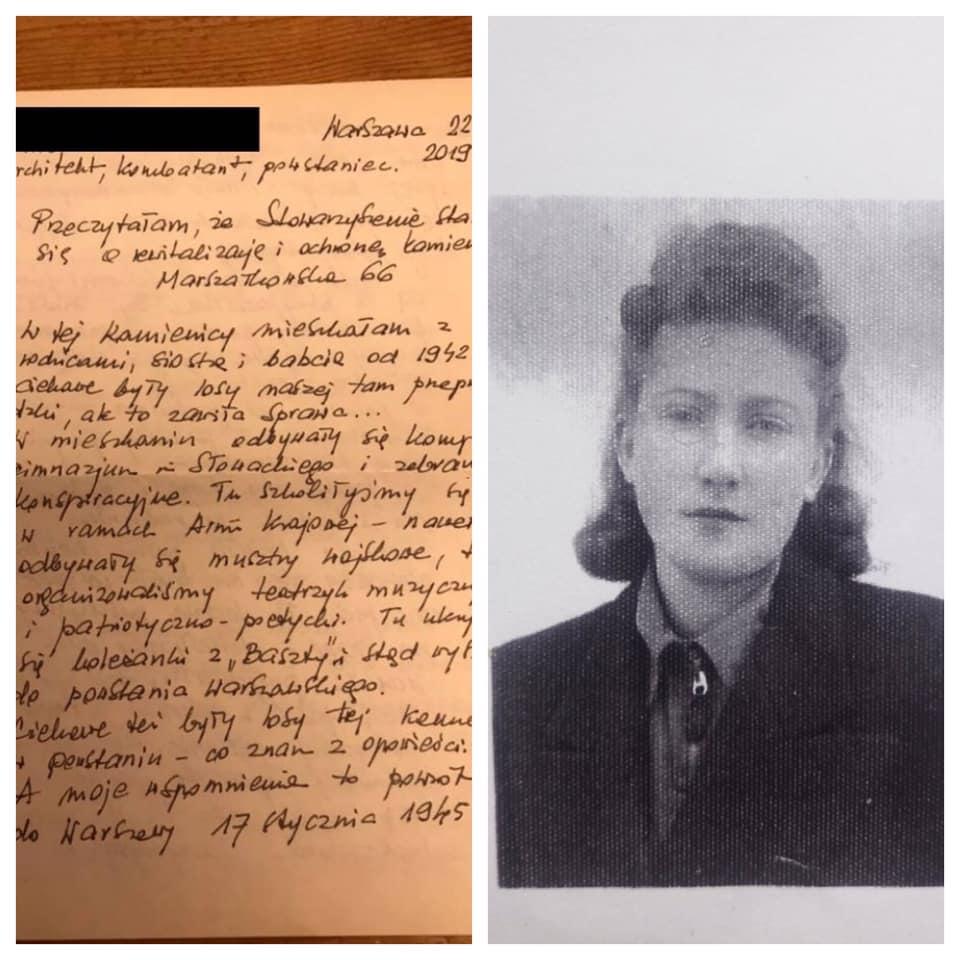 Uczestniczka Powstania Warszawskiego pisze list doMJN