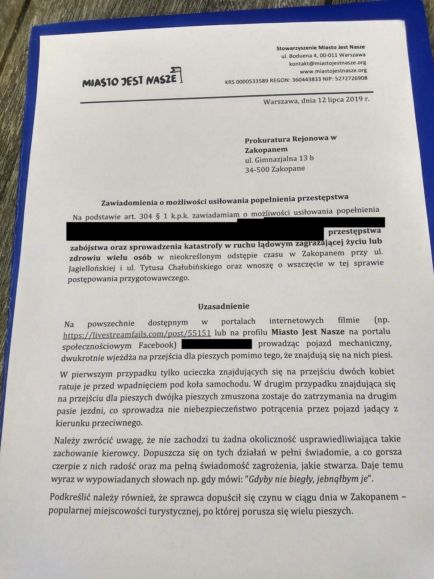 Patostreamer drogowy zgłoszony doprokuratury