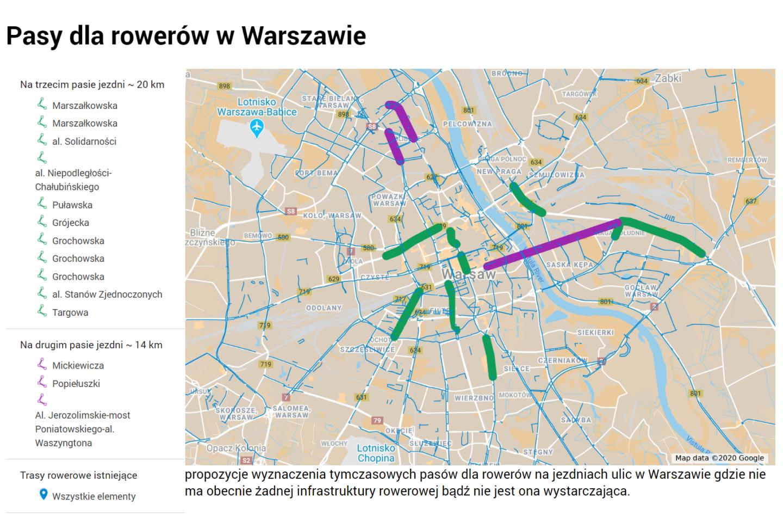 Gdzie wyznaczyć tymczasowe pasy dla rowerów? Petycja doprezydenta