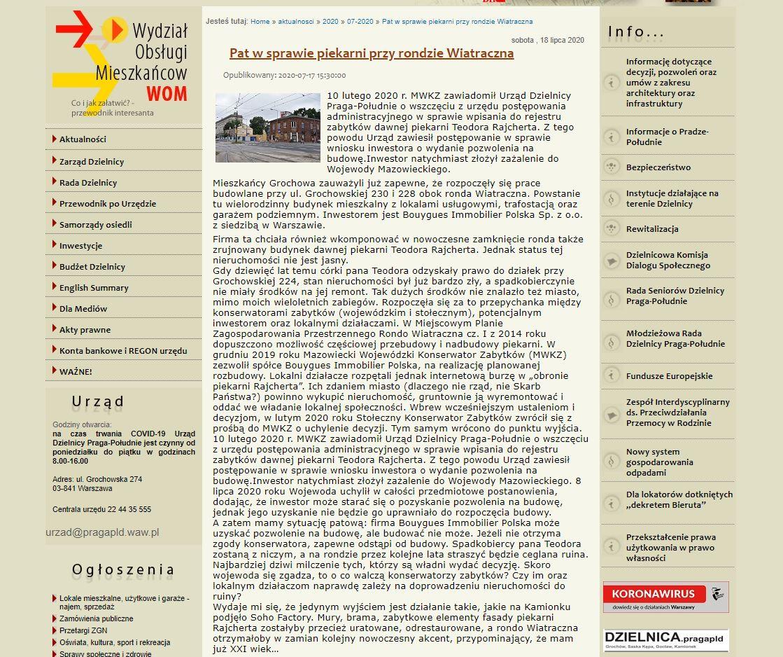 Prodeweloperski wpis nastronie Urzędu Dzielnicy Praga-Południe